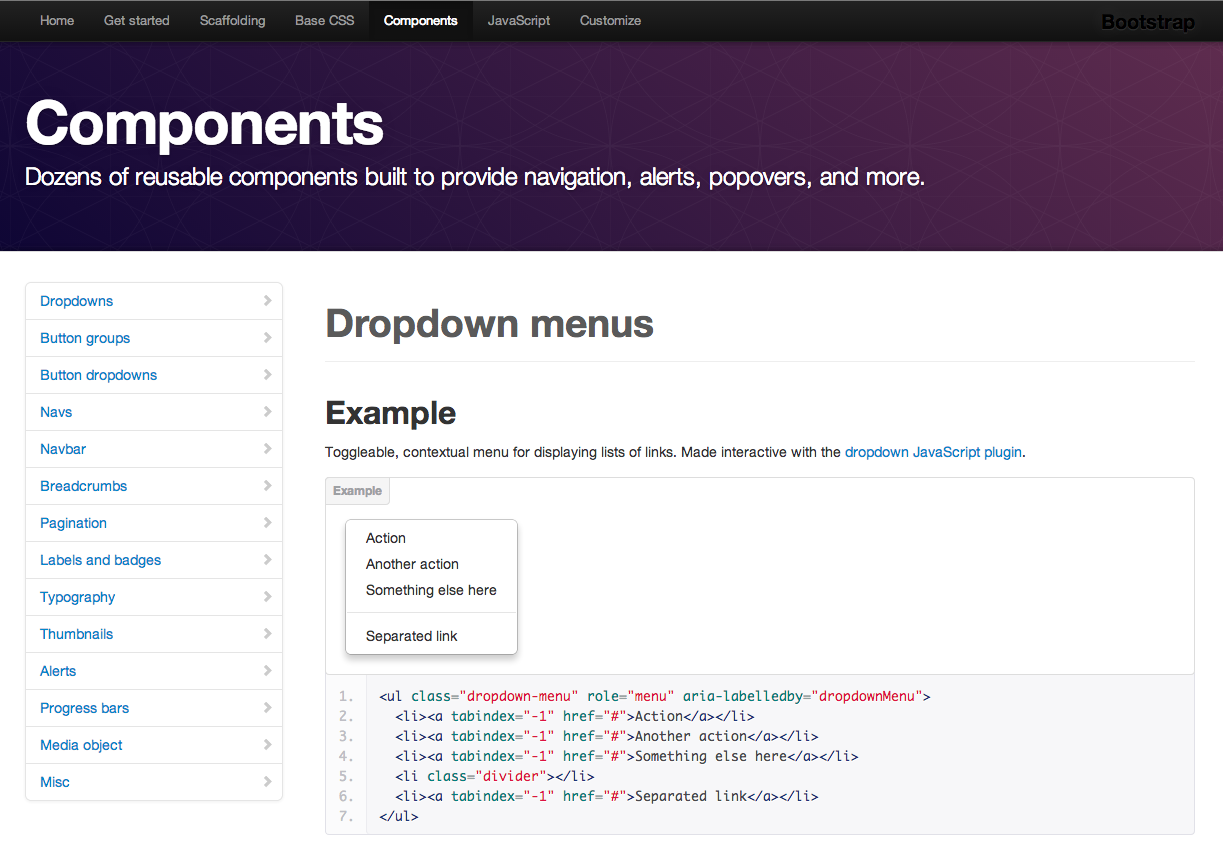 Screenshot of Bootstrap Components page.