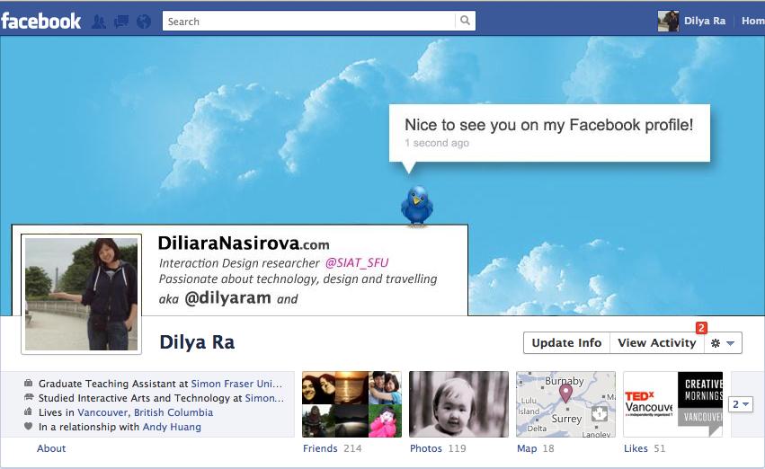 My new Facebook profile design